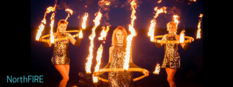 Spin Starlets with Fire hula hoops