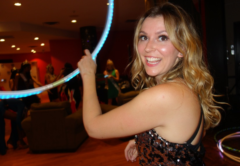 Sam hooping at Miss World Canada sponsor party